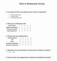 Restaurant Survey Template 13 Restaurant Survey Templates Word Pdf Free
