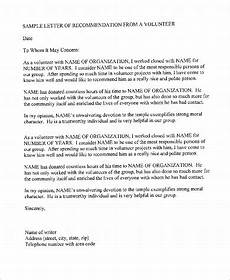Letter Of Recommendation For Hospice Volunteer Free 9 Sample Of Recommendation Letter Templates In Pdf