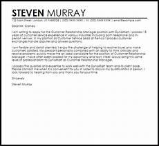 Relationship Manager Cover Letter Customer Relationship Manager Cover Letter Sample Livecareer
