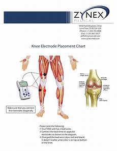 Electrode Placement For Electrical Stimulation Chart Zmpczm016000 12 12 Knee Electrode Placement Chart