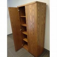 wood 2 door enclosed storage cabinet 5 shelves bull