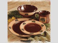 Black Bear Red Pottery Dinnerware   4 pcs