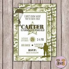 Birthday Invi Diy Printable Boy Camouflage Invitation Army Birthday