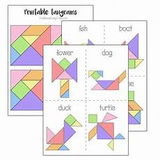 Tangram Kinder Malvorlagen Easy Printable Tangrams And Challenge Cards With Images
