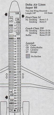 Delta Boeing Douglas Md 80 Seating Chart Vintage Airline Seat Map Delta Air Lines Super 80 Md 88