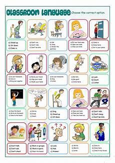 English Language Charts For Classroom Classroom Language Multiple Choice Worksheet Free Esl