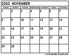 November 2020 Calendar Printable Free November 2020 Calendar Printable