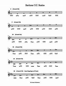 Baritone Horn Finger Chart Treble Clef Baritone Treble Clef Major Scales With Fingerings By