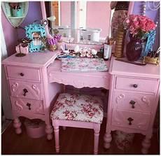 vintage pink dressing table pink