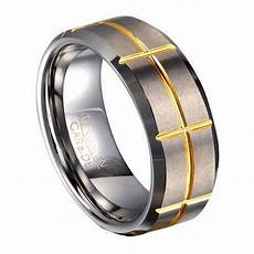 groove ring s tungsten ring with gold tone groove pattern