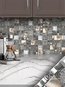 glass backsplash tile ideas for kitchen glass metal gray copper mosaic backsplash tile