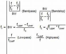Band Pass Filter Equation Filter Transfer Functions Equations Rf Cafe