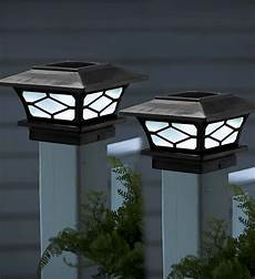 Outdoor Solar Post Cap Lights Classic Solar Post Cap Lights Set Of 2 Black Plowhearth