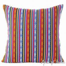blue striped boho kilim dhurrie colorful decorative