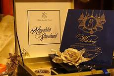 Wedding Invitation Card With Photo Blue Golden Phera Wedding Cards Boxes Witty Vows