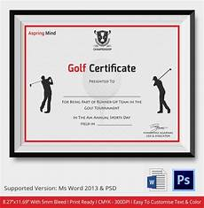 Golf Certificates Templates Golf Certificate Template 5 Word Psd Format Download