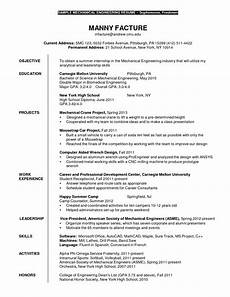 Resume For Engineering Internship Mechanical Engineering Internship Resume Sle Sle