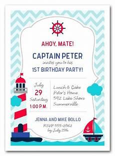 Kids Invitation Nautical Kid First Birthday Party Invitations