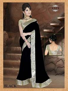 Black Georgette Designer Saree Buy Black Plain Georgette Designer Saree With Blouse Online