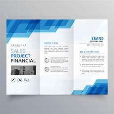 Free Brochure Design Blue Geometric Trifold Business Brochure Design Template