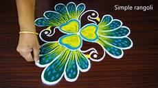 Color Kolam Designs With Dots 3 Face Peacock Rangoli Design Simple Peacock Kolam With