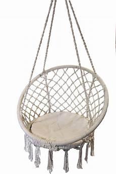 macrame chair macrame padded hanging hammock chair in rope