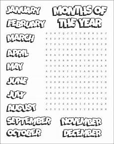 Printable Month Printable Months Word Search