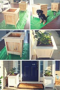 white diy planter boxes with pallet wood diy projects