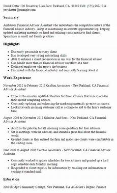 Cv For Finance Assistant Professional Financial Advisor Assistant Templates To