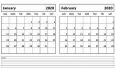 Calendars January 2020 February 2020 Free January February 2020 Calendar Printable Calendar