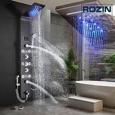 Rain Shower With Led Lights Led Light Shower Faucet Waterfall Rain Black Shower Panel