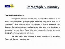 Summary Paragraphs Paragraph Summary For Cat Cet Snap By Cat Classes In