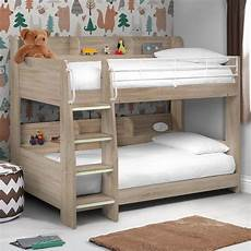 domino oak wooden and metal storage bunk bed