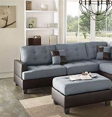 blue brown faux leather sectional sofa set 2pcs f6858