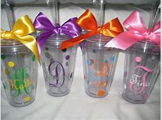 Monogram tumblers with straws, Personalized cups