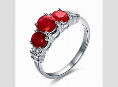 Three Stone Ruby and Diamond Engagement Ring on 10k White