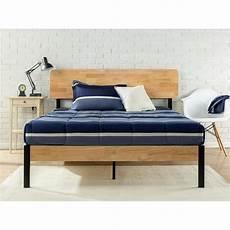 zinus metal and wood platform bed frame king hd