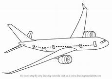 Airplanes Drawings Learn How To Draw Flying Boeing Aeroplane Airplanes Step