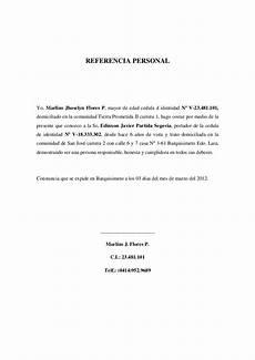 Cartas De Referencias Personal Modelos De Cartas De Referencia Personal Creditos