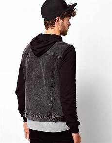 sleeve vest lyst asos denim jacket with jersey sleeves in black for