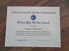 Years Of Service Certificate Vintage 1965 Nasa 15 Year Employee Service Award