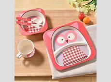 Bamboo child baby tableware plate set kids children