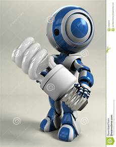 Light Robot Blue Robot Holding Compact Light Bulb Stock Photo Image