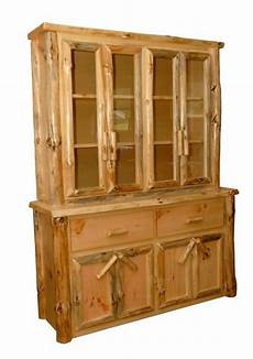 rustic pine log buffet hutch china cabinet amish made in
