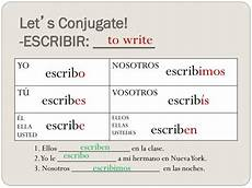 Escribir Conjugation Ppt Objectivos To Recognize Verbs In Spanish To