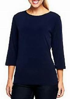 knit tops for 3 4 sleeve new susan graver style knit 3 4 sleeve crew neck top black