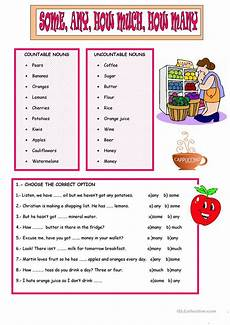 some any how much many worksheet free esl printable