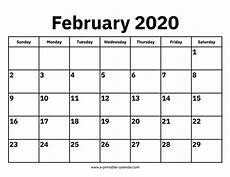 month calendar february 2020 printable calendar for february 2020