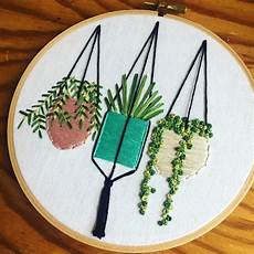 hanging plants in pots embroidery wall garden pastel plant