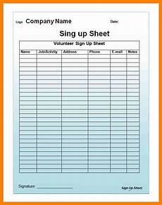 Email List Signup Sheet Email Sign Up Sheet Template Business